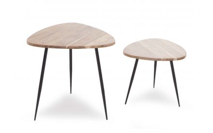 Set of Two Elba Wooden Top Lamp Tables in an angled image showing black metal legs