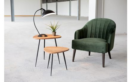 Set of Two Wooden Top Lamp Tables with Black Metal Legs - Elba