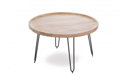 Large Round Crete Coffee Table with Black Metal Legs in a power image showing the sharp style legs
