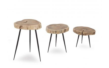 Set of Three Fiji Wooden Top Lamp Tables angled image showing Black Metal Legs and height range