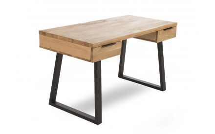 Mila 2 Drawer Writing Desk in a power image showing the light oak top and black metal legs