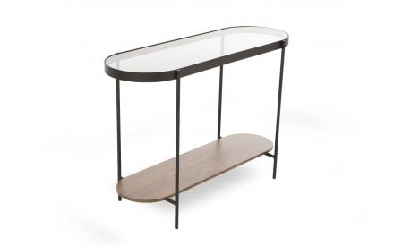 Glam Black Metal & Walnut Console Table in a power image