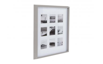 A large grey mount 4 x 4 Photo Frame with space for 9 images from EZ Living Furniture's Cary range. Angled view.