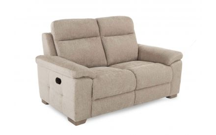 A 2 seater mink recliner fabric sofa from EZ Living Furniture's Amalfi range. Angled view of button & feet