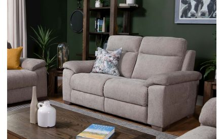 2 Seater Mink Fabric Reclining Sofa - Amalfi