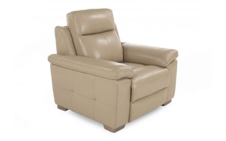 A beige leather armchair from EZ Living Furniture's Amalfi range. Angled view of padded cushions & wood feet.