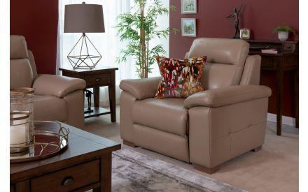 Beige Leather Fixed Armchair - Amalfi