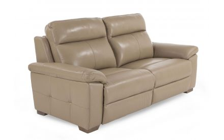 A 2.5 Seater beige leather sofa from EZ Living Furniture's Amalfi range. Angled view of padded cushions & wood feet.
