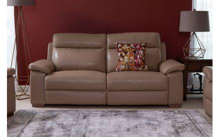 2.5 Seater Beige Leather Fixed Sofa - Amalfi