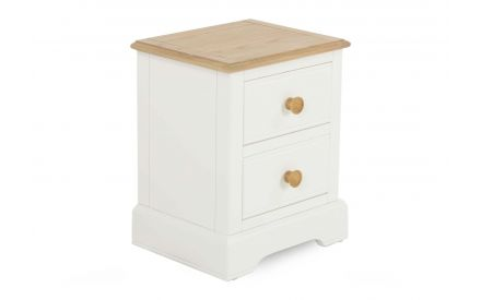 A white & oak bedside with 2 drawers from EZ Living Furniture's Dreams range. Angled view.