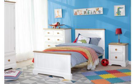 1 Door 3 Drawer White & Oak Wardrobe - Dreams