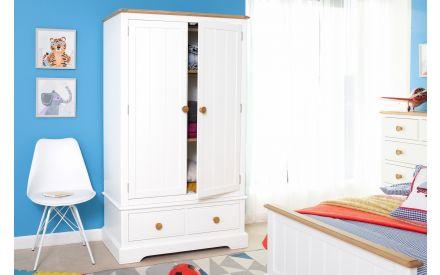 2 Door 2 Drawer White & Oak Wardrobe - Dreams