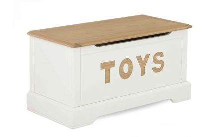 A white & oak Toybox from EZ Living Furniture's Dreams range. Angled view