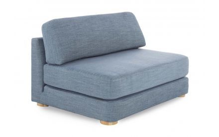 2.5 Seater Sofabed in blue fabric from the EZ Living Furniture's Ralph range. Angled view as a sofa