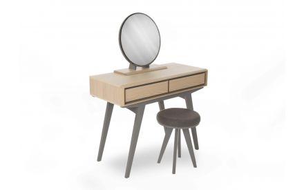 Brunel Scandi Oak & Dark Grey Dressing Table in a power image showing wood finish and grey trim