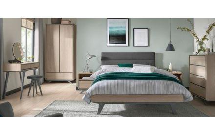 1 Large Drawer Scandi Oak & Dark Grey Dressing Table with Mirror & Stool - Brunel