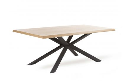 A rectangular dining table with oak top & black metal legs from EZ Living Furniture's Arno range. Angled view