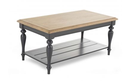 A coffee table with wood oak top & black oak base from EZ Living Furniture's Toulouse range. Angled view.