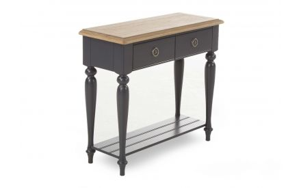 A console table with 2 drawers & black smokey oak base & oak top from EZ Living Furniture's Toulouse range. Angled view.