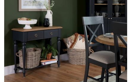 2 Drawer Dark Grey & Oak Console Table - Toulouse