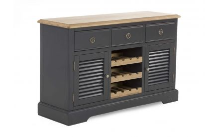 A large 2 door 3 drawer sideboard with 3 shelf wine rack in Charcoal from EZ Living Furniture's Toulouse range. Angled view.