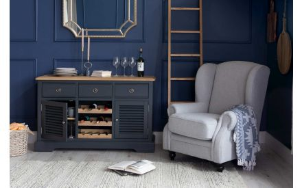 Large Dark Grey & Oak Sideboard with Wine Rack- Toulouse