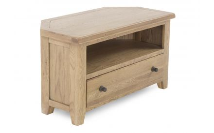A smoked oak corner TV unit with 1 drawer & 1 shelf from EZ Living Furniture's Country Cottage range. Angled view of shelf
