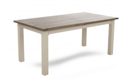 A dining table made of reclaimed timber with grey finish from EZ Living Furniture's Hampshire range. Angled view.