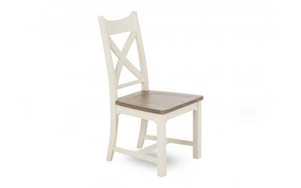 A cross back dining chair made of reclaimed timber & grey finish from EZ Living Furniture's Hampshire range. Angled view.