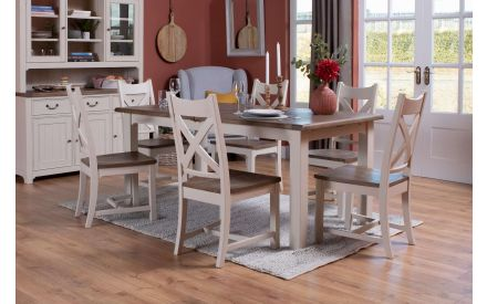 Reclaimed Wood Cream Dining Chair - Hampshire
