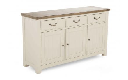 A 3 door 3 drawer sideboard in reclaimed timber with grey finish from ez living furniture's Hampshire range. Angled view.