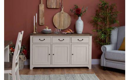 3 Door 3 Drawer Reclaimed Wood Cream Sideboard - Hampshire