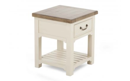 A 1 drawer lamp table made of reclaimed timber & grey finish from ez living furniture's Hampshire range. Angled view.