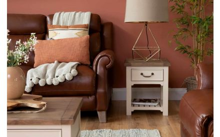 Reclaimed Wood Cream Lamp Table - Hampshire