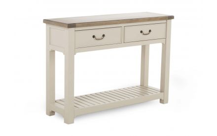 A 2 drawer console table made of reclaimed timber & grey finish from ez living furniture's Hampshire range. Angled view.