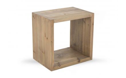 A single section display unit in light grey oak from EZ Living Furniture's Cube range. Angled view.