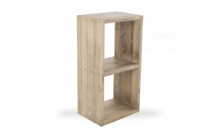 A two section display cube in grey oak finish from EZ Living Furniture's Cube range. Angled view.