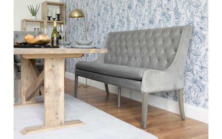 180cm Grey Velvet Dining Bench - Oscar