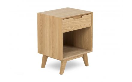An oak locker with 1 drawer and feet from EZ living Furniture's Rho range. Angled view