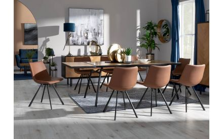 180cm Mixed Oak & Metal Dining Table with Free Extension Leaf - Calvi