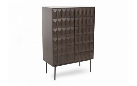 A retro dark brown oak drink's cabinet with 2 doors & metal legs from EZ Living Furniture's Latina range. Angled view.