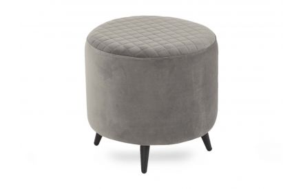 A round velvet footstool in grey with black feet from EZ Living Furniture's Ottowa range. Angled view