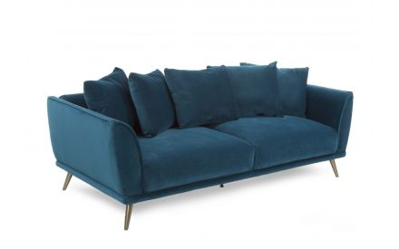 A 4 Seater Sofa in Teal Velvet from EZ Living Furniture's Katie range. Angled view.