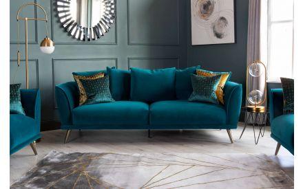 4 Seater Teal Velvet Sofa - Katie