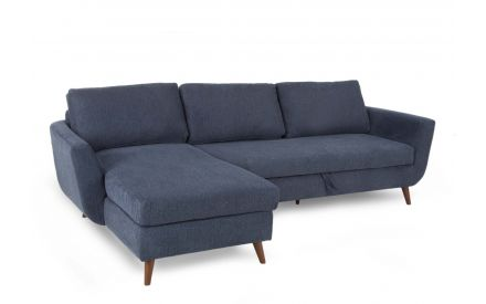 A 3 Seater RAF Sofa Bed Chaise in navy blue fabric from EZ Living Furniture's Sasha Range. Angled view as sofa