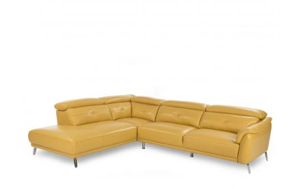A RAF Corner Sofa in yellow leather with steel legs from EZ Living Furniture's Valentino range. Angled view.