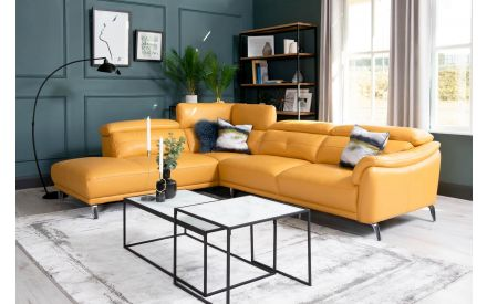 Yellow Leather RAF Corner Chaise - Valentino
