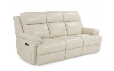 A 3 Seater reclining sofa in white leather from EZ Living Furniture's Embrace range. Angled view.