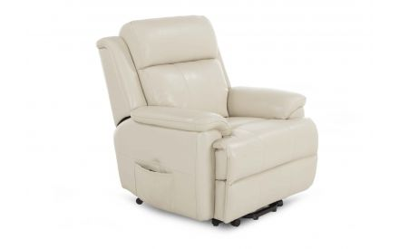 A power reclining chair with super lift functions from EZ Living Furniture's Embrace range. Angled view.