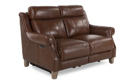 A brown leather 2 Seater power reclining sofa from EZ Living Furniture's Como range. Angled view of wood feet